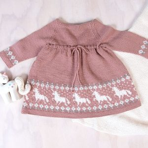 Bluum stickad klänning - Enhörning - Pure Eco Baby Wool