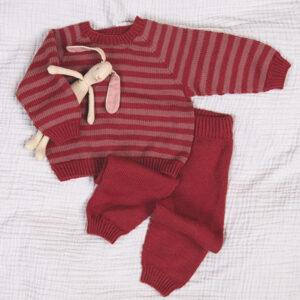 Bluum stickningsset - Ränder tröja och byxsor i Zarina