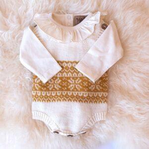 Bluum stickad body - 2 stk Stjärna i Pure Eco Baby Wool