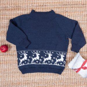 Bluum stickning - Ren-tröja i Pure Eco Baby Wool