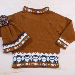 Bluum stickad tröja och mössa med pingviner i Pure Eco Baby Wool