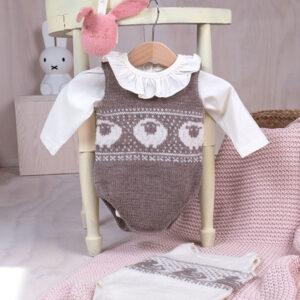 Stickade bodys 2 stk Får+Anka i Pure Eco Baby Wool