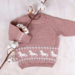 Bluum stickad tröja - Enhörning i Pure Eco Baby Wool