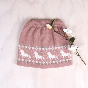 Bluum stickad kjol - Enhörning i Pure Eco Baby Wool