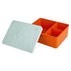Matlåda, tre fack - nalle (ljusblå/orange)
