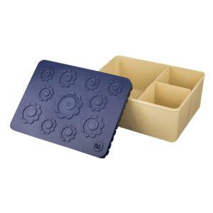 Matlåda, tre fack - blomma (blå/beige)