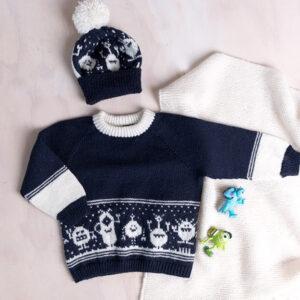 Bluum stickningsset - Monstertröja och mössa i Pure Eco Baby Wool