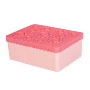 Matlåda, tre fack - blomma (rosa)