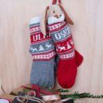 Bluum stickning - Julstrumpor Renar och valfria namn i Soft Merino Ull