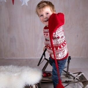 Bluum stickning - Jultröja 4 frg med tomteluva i Soft Merino Ull