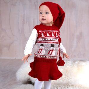 Bluum stickning - Julväst 4 frg m/kjol och tomteluva Soft Merino Ull