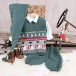 Bluum stickning - Julväst 5 frg m/knäbyxor och tomteluva Soft Merino Ull