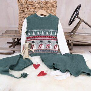 Bluum stickning - Julväst 5 frg m/kjol och tomteluva Soft Merino Ull